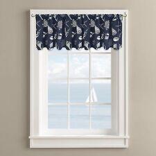 "Nautical Seashell Starfish Window Valance, Coastal Design, Navy 60"" x 14"" - NEW"