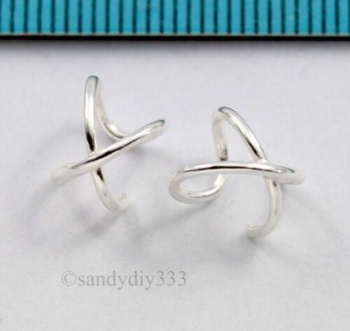 2x 925 STERLING SILVER CLIP-ON CROSS X RING WRAPPED EAR CUFF EARRINGS #2985