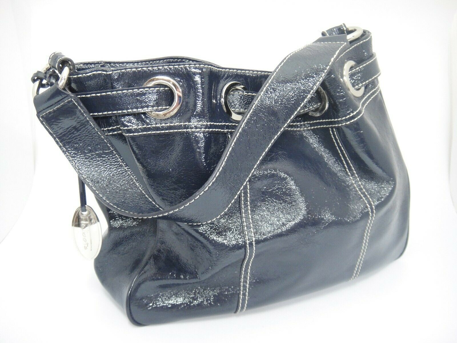 Talbots Navy Blue Shiny Leather Handbag Silver Metal White Stitching Excellent