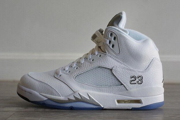 NEW Nike Air Jordan V Retro Weiß Weiß Weiß Silber Metallic - Größe 8.5uk - 43eu fc2f2e