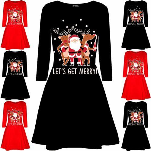 Femme Noël Santa Rudolph bière Femmes à Manches Longues Swing Évasé Mini Robe