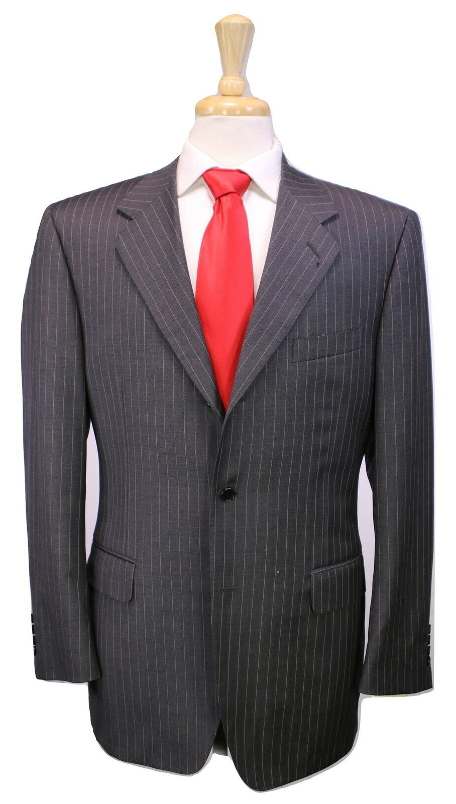 CANALI  grau Pinstripe Super 120's Wool 3B Luxury ITALY Classic Fit Suit 42R