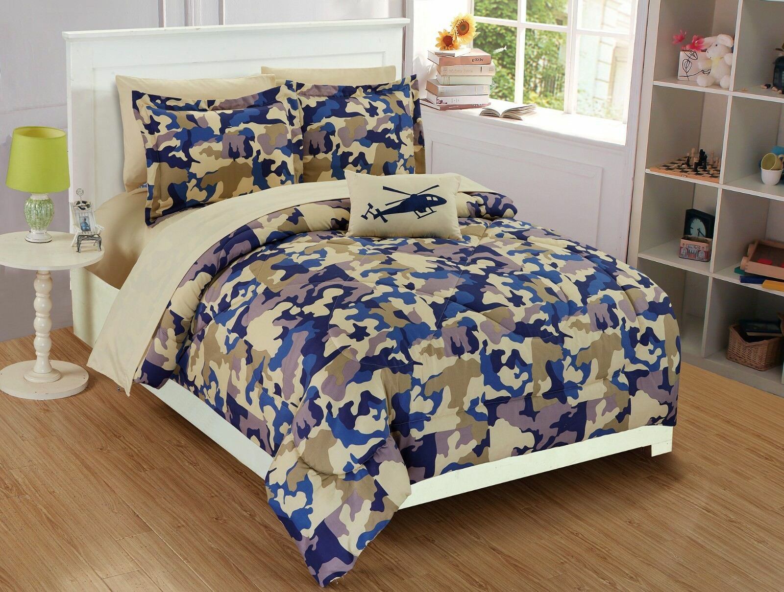 Fancy Linen 8pc Full Comfort Set Kids Army Camouflage Beige Taupe bluee New