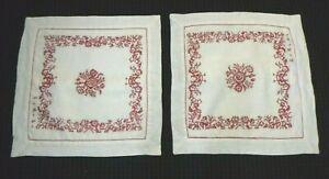 """Pr Ralph Lauren White Linen Pillow Covers Shams W/ Red Cross Stitch Design 19.5"""""""