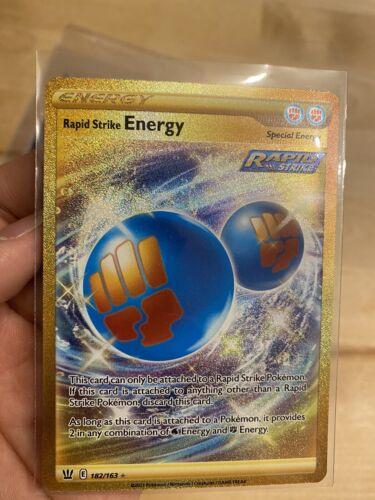 Rapid Strike Energy 182/163 Secret Rare Gold Card Pokemon Battle Styles NM