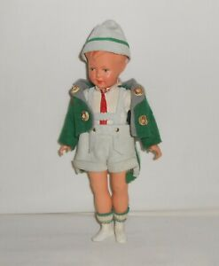 Vintage Jointed Celluloid German Boy Doll Marked AJ 20