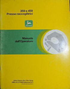 """PUBBLICITA' WERBUNG *JOHN DEERE """" PRESSE RACCOGLITRICI 359 e 459 - MANUALE OPER. - Italia - PUBBLICITA' WERBUNG *JOHN DEERE """" PRESSE RACCOGLITRICI 359 e 459 - MANUALE OPER. - Italia"""