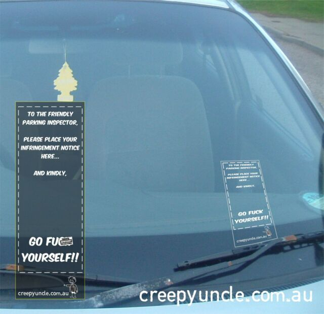 My Creepy Family Parking Cop Ticket Holder Funny Car Window Sticker Decal