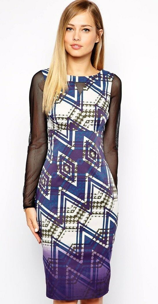 New Karen Millen zig zag print purple bodycon fitted dress