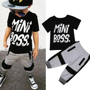 9e24f4e07 UK Casual Toddler Baby Kids Boy T-shirt Tops Long Pants 2Pcs Outfits ...