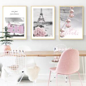 Paris-Eiffel-Tower-Posters-Pink-Rose-House-Decor-Ferris-Wheel-Canvas-Girl-Prints