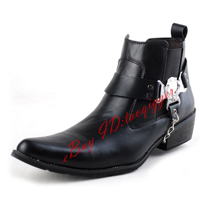 Punk Womens Rock Ankle Boots Leather High Top British Formal Chelsea Boots Shoes