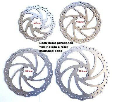 Methodisch High Quality Staniless Steel Disc Brake Rotors, 160mm, 180mm, 203mm, Incl Bolts Novel (In) Design;