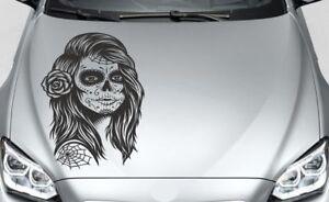 Details Zu Aufkleber Auto Motorhaube Tribal Catrina Totenkopf Tattoo Sugar Skull Lady 121