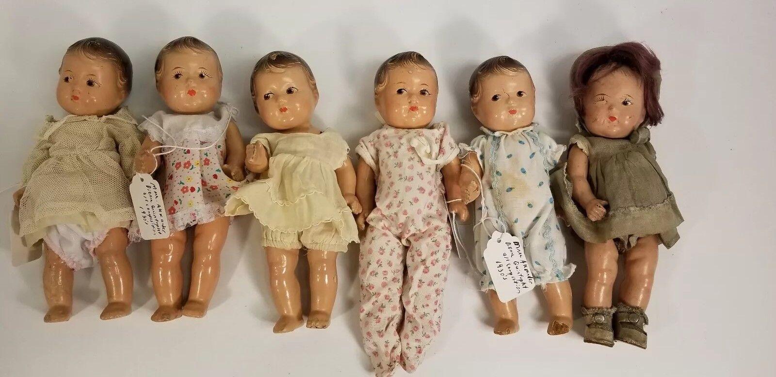 Vintage 1930s Madame Alexander Composition Dionne Quintuplets Baby Doll Set 8in