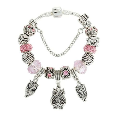 European Bead Silver Bracelet with 15 Charms Pink Rose Rhinestone Owl USA New