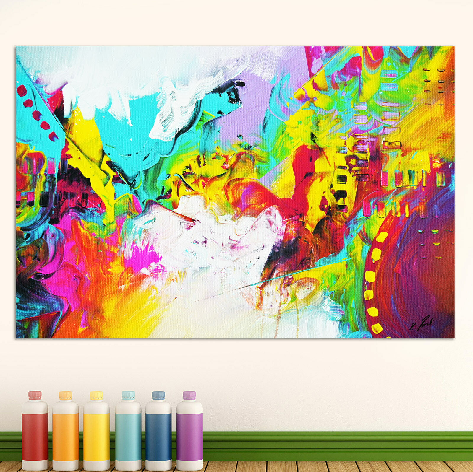 Abstraktes Bild Bunt Farbe Leinwand Kunst Bilder Wandbilder Neu XXL D0176