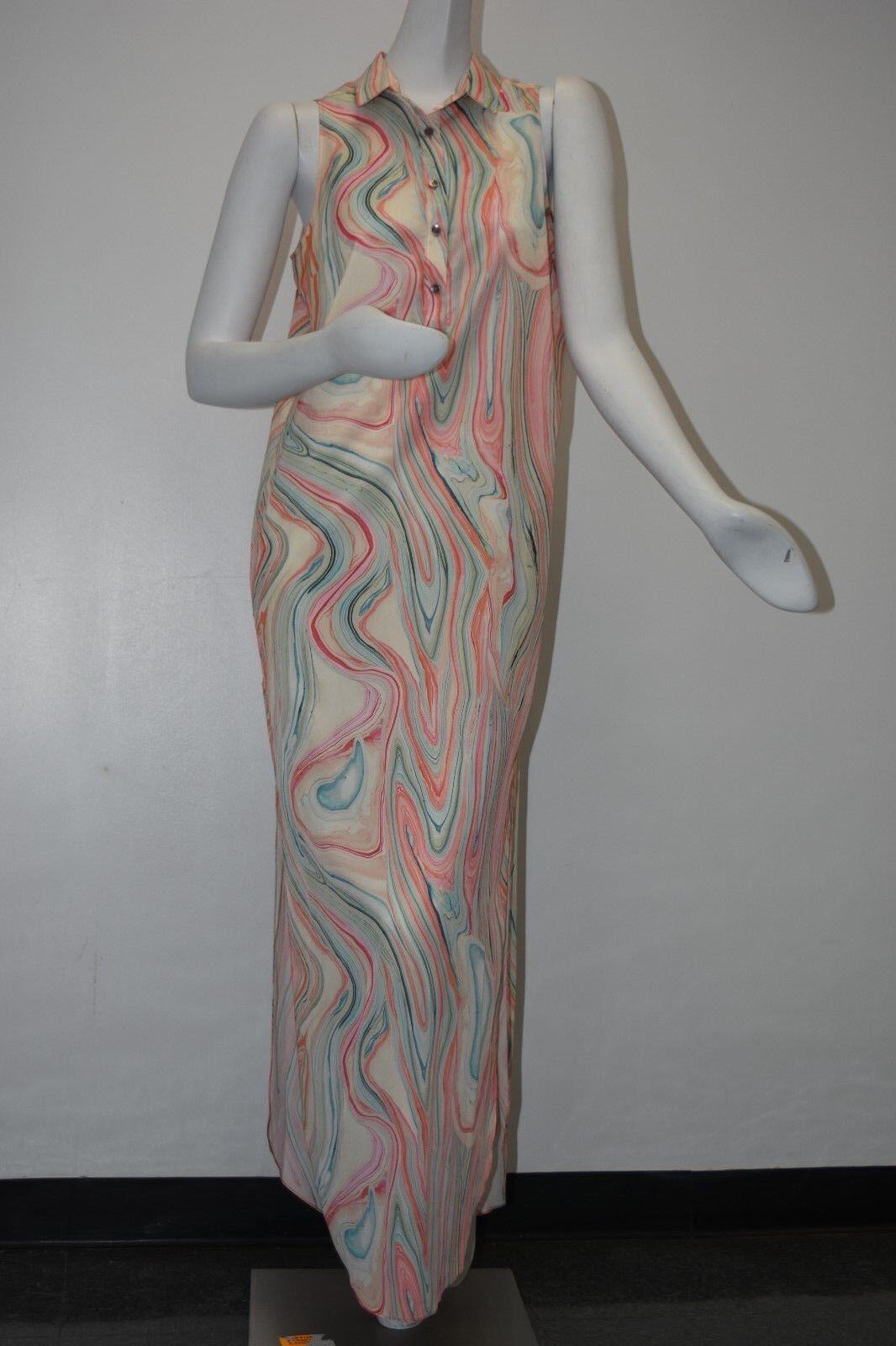 495 NEW w TAG Etienne Aigner Shirt Shirt Shirt Button Down Marble Print Maxi Tunic Dress 6 985646