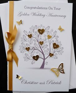 personalised handmade golden wedding anniversary or wedding card