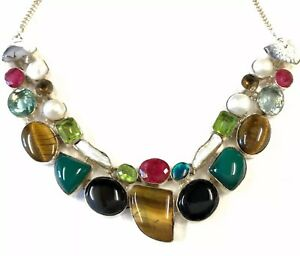 Stunning-Vintage-Silver-Tone-Agate-Pearl-amp-Paste-Heavy-Chain-Necklace-Collar