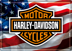 Nostalgic Art Harley Davidson Logo Avec USA Drapeau Carte Postale en Tôle /