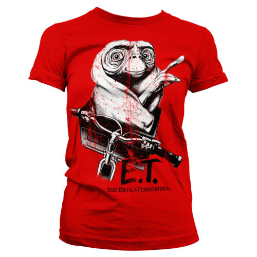 Officially Licensed E.T Biking Distressed Women/'s T-Shirt S-XXL Sizes