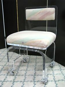 Stylish Vintage 1980 S Lucite Boudoir Chair With Swivel