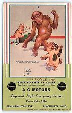 Postcard OH Cincinnati AC Motors Studebaker Lawson Wood Dancing Pig Monkey R39
