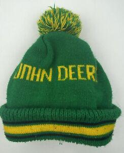 Vintage John Deere Tractor Mens Pom Pom Beanie Knit Winter Hat 80's Green Yellow