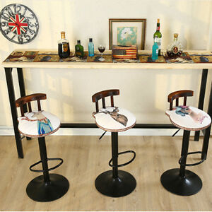 Vintage-Bar-Stool-Retro-Cafe-Kitchen-Dining-Chair-Furniture-Adjustable-Height