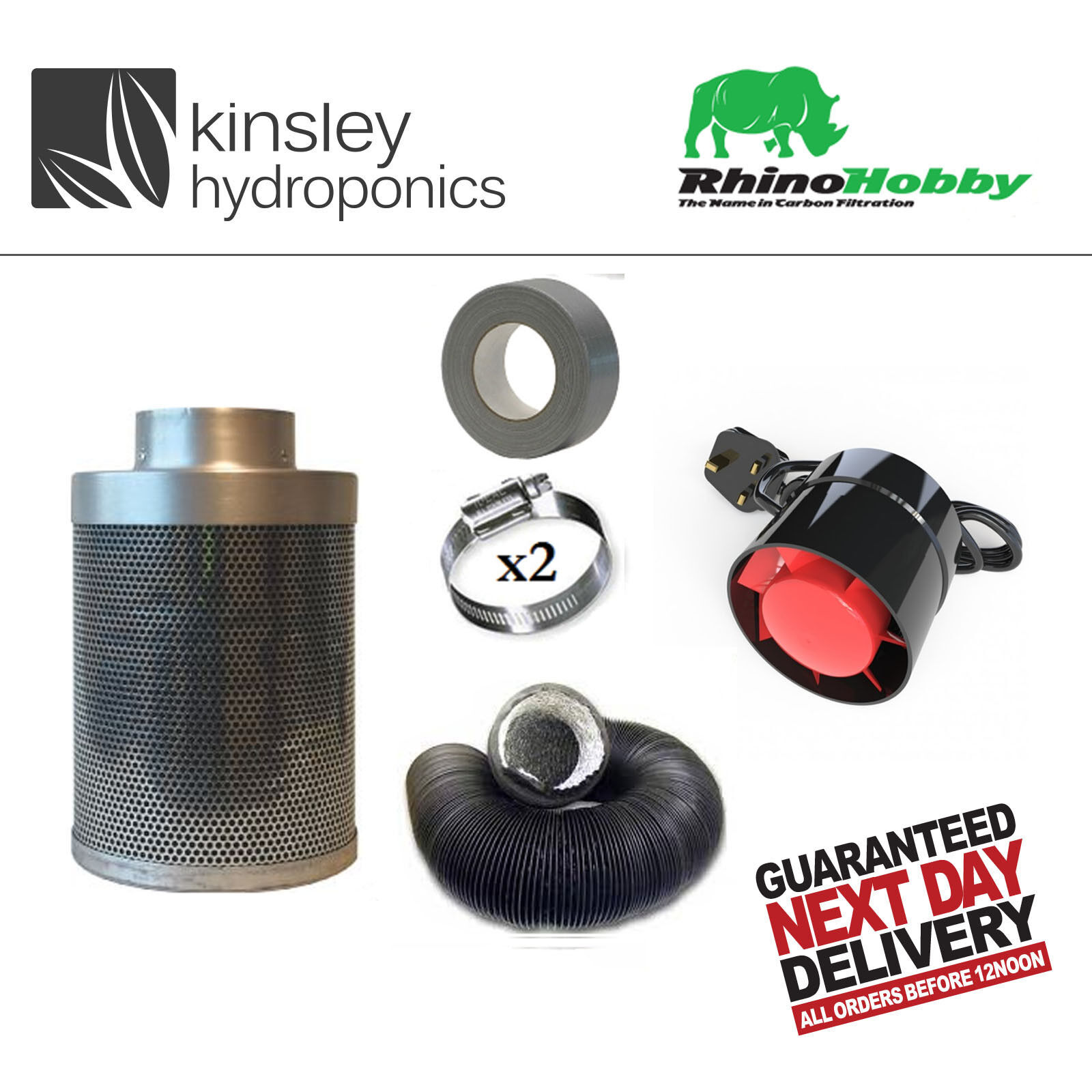Rhino HOBBY KIT Filtro Carbonio Ventola di estrazione degli odori Combi canalizzazione Idroponica