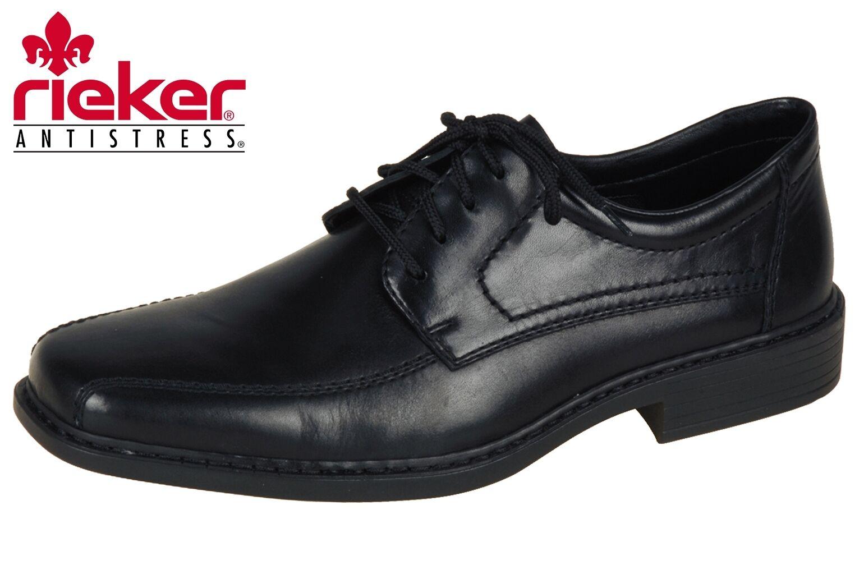 Rieker Businessschuhe Herren Schnürer Schwarz Leder Schuhe B0812 NEU