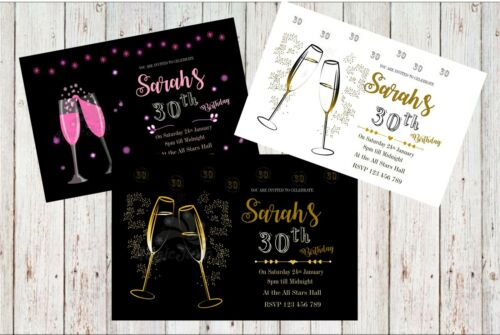 Personalised Adult  Birthday Invitations Party Invite 21st 30th 40th 50th 60th