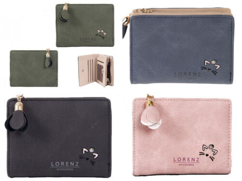 Lorenz Small Ladies Faux Leather Cat Motif Zip Round Purse RFID Card Protected