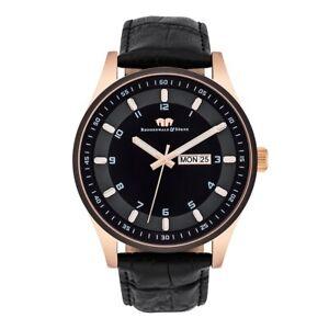 Rhodenwald Söhne Armband-Uhr Herren Couragian rose©gold Echtleder schwarz Uhren