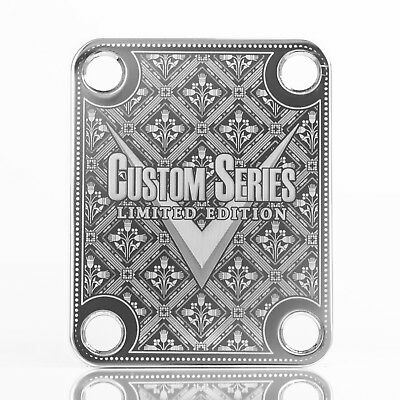#2117 CHROME Engraved Guitar//Bass Neck Joint Heel//Back Plate Standard 4 Bolt