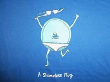 """A Shameless Plug"" Womens Blue Graphic Print T Shirt - XL"