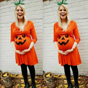 New-Pregnant-Womens-Nursing-Nightgown-Pregnancy-Halloween-Devil-Print-Dress