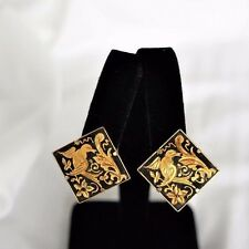 Vintage Damascene Bird Design Gold Tone Clip Back Earrings #0105