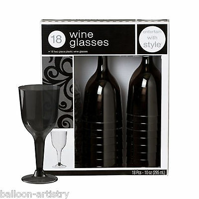 18 Premium BLACK 10oz Plastic Wedding Catering Wine Glass Cups Glasses