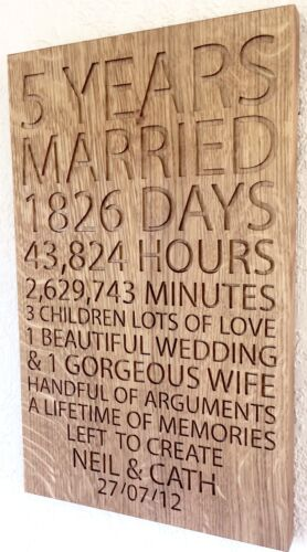 Oak Wood Plaque Wooden Wedding 5th Anniversary Gift Carved Personalised