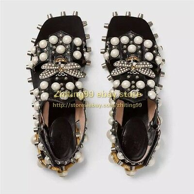Punk Womens Pure handcraft Rivert Pearls Leather Sandal Open Toe Beads Bee Shoes