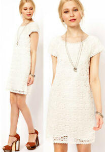 4fc58791b1  298 French Connection Hazel Mable Lace Winter White Shift Dress 10 ...