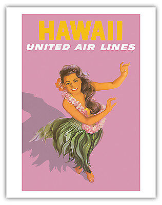 24x36 Hawaii 1960s Hula Girl Vintage Style Travel Poster