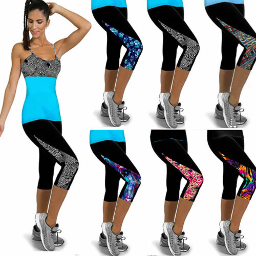 Womens Cropped Leggings Length Casual Trousers Gym Pants Hot Color Size UK 18 20