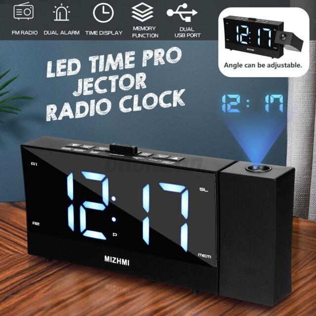 1.8'' Projector LED Digital Alarm Clock FM Radio Time Display Projection Bedside