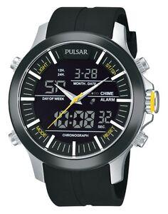Pulsar-Analog-Digital-World-Time-Alarm-Chronograph-PW6001-Quartz-Watch-Men-039-s