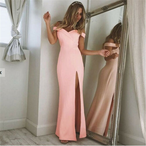 Women Formal V Bridesmaid Ball Prom Gown Off Shoulder Evening Party Long Dress M