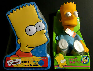 Vintage 1990 Bart Simpson Collectible Doll New and Bart's Trivia Game New