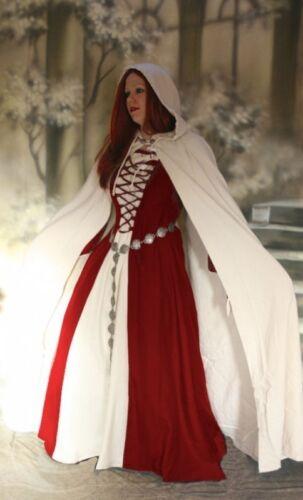 moyen-âge gothique robe médiévale Vêtement Robe Ermina rouge blanc avec cape